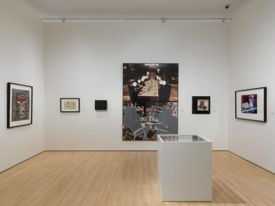 """John Balderassi's """"Two Compositions"""" dominates one wall of the Teaching Gallery."""