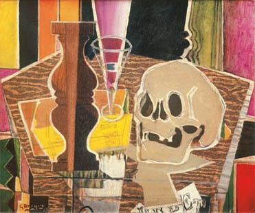Georges Braque, Baluster and Skull (recto), 1938. [verso: Still Life with Fruit