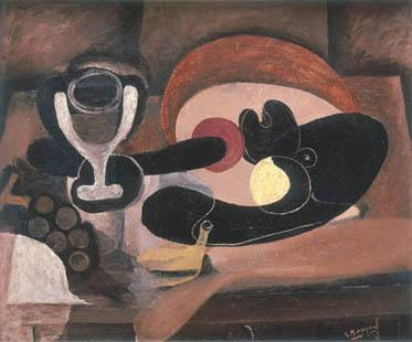 Georges Braque, Still Life with Fruit Dish (verso), c. 1932-33. [recto: Baluster